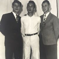 Vintage 1950s Photo 3 Young Men Posed Handsome Fellows