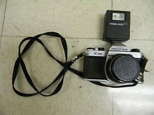 Pentax Asahi K1000 35mm Film Camera with 50mm Pentax lens Focal Flash M200 STRAP