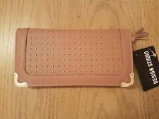 MMS Design Studio Pouch Zip-around Organizer Wallet with gold studs detail, Nude
