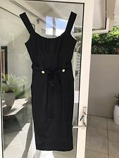 Cue Pinafore Dress Charcoal Pencil Skirt Stretch Cute Buttons Tie