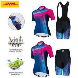 Rennrad Trikot Set Damen Fahrradtrikot Fahrrad Anzug Radsport Shirt Trägerhose