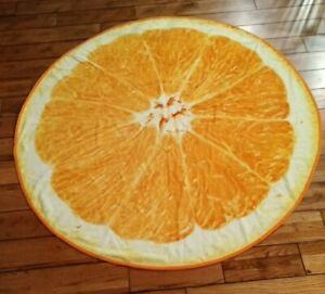 "ROUND BEACH TOWEL IMAGE OF ORANGE FRUIT 58"" round HUGE New great for tanning"