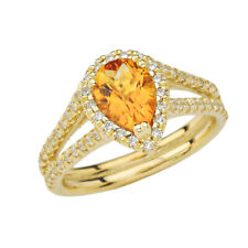 Solid Gold Double Raw Halo Pear Shape Genuine Checkerboard Citrine Ring