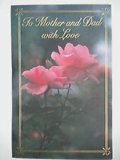 "Carlton Cards ~ ""TO MOTHER AND DAD WITH LOVE"" ANNIVERSARY GREETING CARD"
