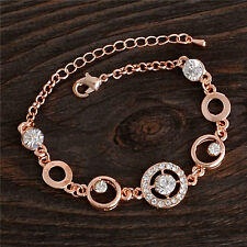 Fashion Rose Gold Plated Round Cubic Zirconia Woman Adjustable Bracelet Bangle