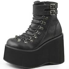 DEMONIA Goth Wedge Ankle Boot Lace up Ankle Cuff Side Zip KERA-21 Black-9