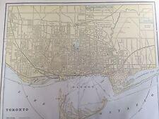 Antique COLOR MAP of Toronto, Canada-circa 1893