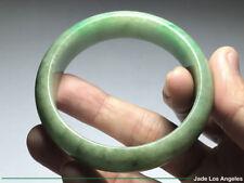 D-Shaped Rich Lake Water Floral Green Jadeite Jade Bangle Bracelet 54-54.5mm
