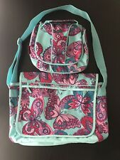 Gap Kids~Messenger Bag and Insulated Lunch Kit~Pink Purple Teal Butterflies~EUC