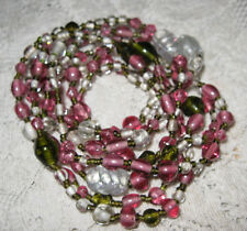"""Vintage Glass Beaded Necklace--Pink/Clear/Olive Green Glass Beads 29"""" Long"""