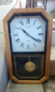 Verichron Pendulum Quartz clock wood frame wall mount