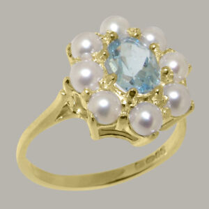 Solid 9ct Yellow Gold Natural Aquamarine & Full Pearl Womens Cluster Ring