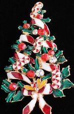 "RHINESTONE GARLAND CANDY CANE PEPPERMINT CHRISTMAS TREE PIN BROOCH JEWELRY 2.5"""