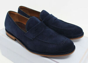 $650 NIB Italy BRUNO MAGLI Men's Navy Brown Suede Penny Loafers Dress Shoes 8-US