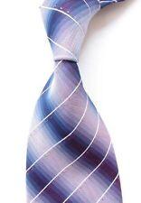 """Men's Classic Necktie  Gradient Color Striped Ti Blue White Set Stones 3.9"""" 10cm"""