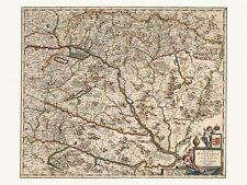 Old Antique Decorative Map of Hungary de Wit ca. 1682