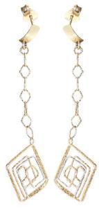 Ohrhänger Gold 585 Ohrringe Ohrstecker 6,2 cm lang Quadrate Damen bicolor