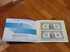 USA UNCUT 2x ONE DOLLARS US$1 banknote 1999 With Folder (UNC), D99654275A