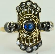 Antique Victorian Memento Mori Skulls 18k Gold,Diamonds&Sapphire ladies ring