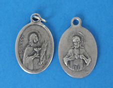"St Lucy /  Sacred Heart  Oxidized Medal  (7/8"" x5/8"")"