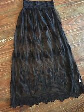 Gypsy Junkies BOHO Small Embroidered Black Lace Maxi Skirt Festival NWOT