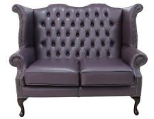 Chesterfield 2 Seater Queen Anne High Back Sofa Hemmingway Blueberry Leather