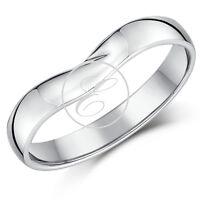 9ct White Gold Ring Curved Wishbone Wedding Ring Band