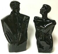 Vintage 1980's Modern Black Ceramic Man And Woman Figurine Sculpture Pair