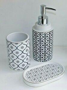 Blue & White Design Toothbrush Holder, Soap Pump Dispenser & Soap Dish