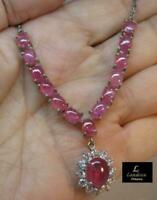 9 ct ct Pink Ruby Silver Necklace