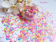 Nail Art Chunky *PartY* Bright Neon Matt Hexagon Shapes Glitter Spangle Mix Pot