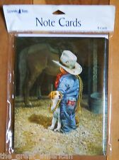 8 Leanin Tree Cards Little Cowboy with Dog, a Horse and a Can of Coke in a Barn