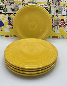 """5 Vintage Fiesta Plates 9 1/2"""" Original Color Yellow Very Nice Condition"""