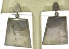Trapezoid Shape dangle ladies Earrings Vintage Sterling Silver Mexico Solid