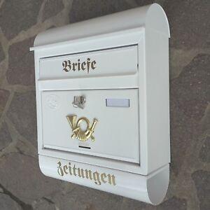 XXL Briefkasten Postkasten Weiss Zeitungsrolle Wandmontage Nostalgie Zeitungsbox