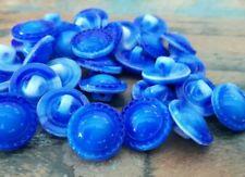 Strang Altglasperlen polierte Scheiben kobaltblau Recycled Glass Beads Ghana