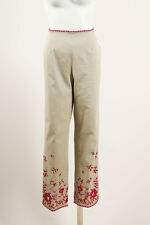 Oscar de la Renta Khaki Red Twill Knit Floral Embroidered Trouser Pants SZ 12