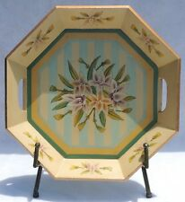"""17"""" Vintage Wood Hand Painted Flowers Octagon Tray Cut-Out Handles #4764"""