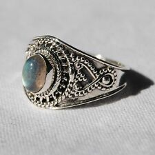 Labradorite Ring - Solid 925 Sterling Silver - Size 8.5 - Green Flash