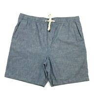 Banana Republic Chambray Deck Shorts Pull On Elastic Waist Blue Men's Size XL