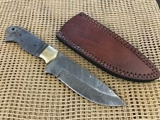 Damascus Steel Drop Point Knife Making Blank Kit With Leather Sheath