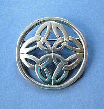 """Vtg. Irish Pewter Celtic Interlocking Circles Pin / Brooch -- 1 3/4"""" Diameter"""