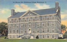 MIDDLEBURY, VT Vermont    MIDDLEBURY COLLEGE~Monroe Hall   c1940's Postcard