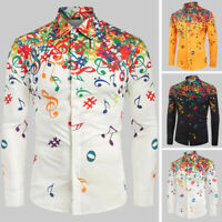 Christmas Retro Floral Shirt Men's Holiday Beach Hippy Buttons V-Neck Tops Tee