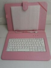 """Micro USB Keyboard 9"""" 10"""" inch Android Tablet Pink PU Leather Stand Case Cover"""