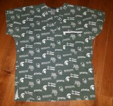 MICHIGAN STATE UNIVERSITY SCRUB TOP SIZE SMALL MSU GREEN & WHITE SHIRT SPARTANS