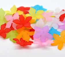 80 Mixte Perles Acrylique Dépolie Fleur 28x7mm