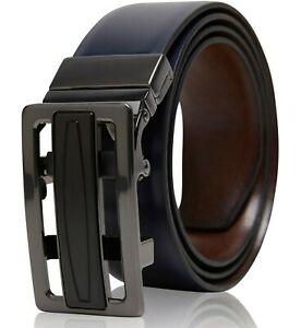 Real Leather Belt Mens Reversible Ratchet Belt With Adjustable Automatic Buckle