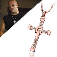 WOMEN MEN 18K Rose Gold GP CROSS With Swarovski Crystal Pendant Necklace