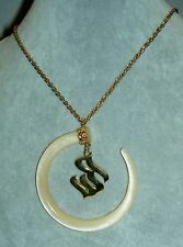 Authentic ROCAWEAR Faux MOP Lucite Tusk Dangle RW Logo Statement Necklace